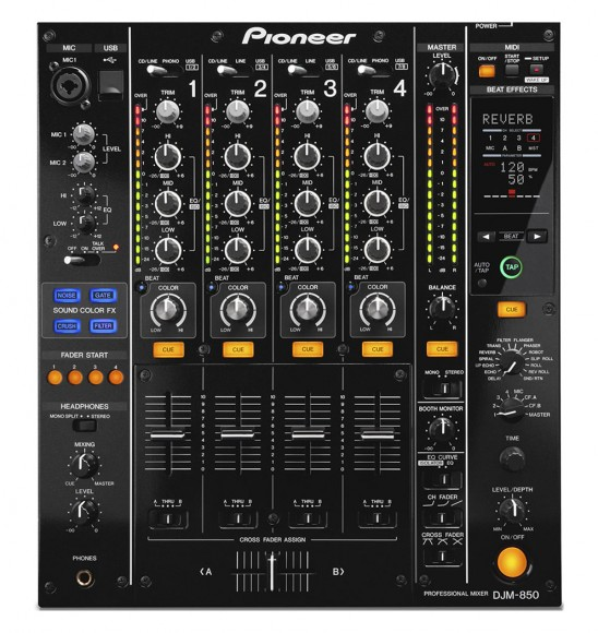 The Pioneer DJM-850: A club-standard mixer, with a Traktor Scratch-certified sound card built in, and at a reasonable price (at least, as far as this end of the market goes).