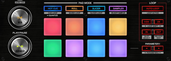 The DDJ-SZ has eight velocity-sensitive performance pads that can be assigned a variety of functions. In contrast to the DDJ-SX, the pads here have coloured LED backing (handy for triggering colour-coded hot cues without having to look at your computer, for instance).