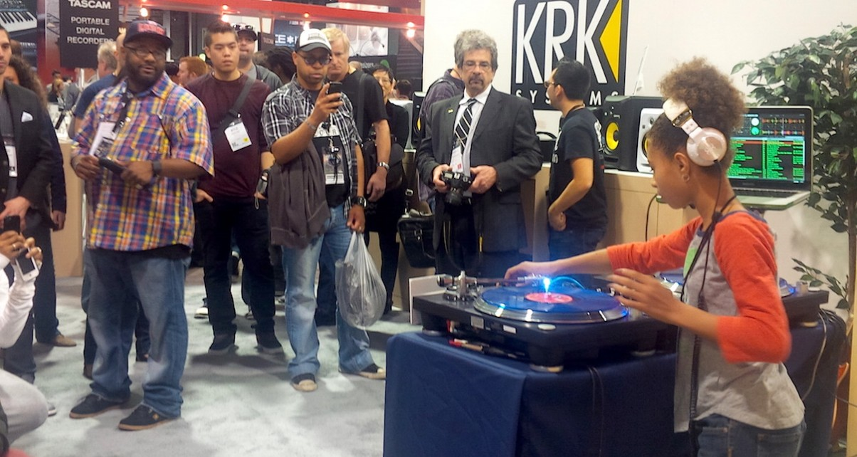 The kids are alright! 11-year-old DJ Young 1 shows off her skills at the Musikmesse trade show. But why do some veteran DJs get so upset at new talent coming through? Pic: DJ Times