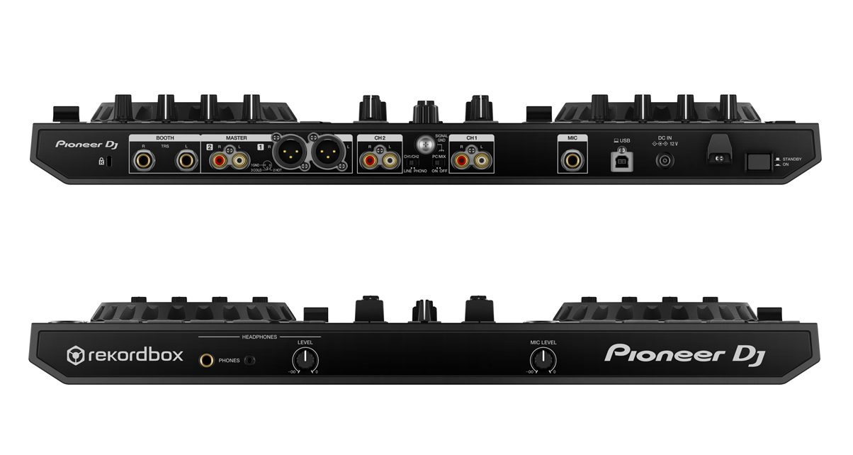 """The DDJ-RR comes with XLR and RCA Master outputs, a pair of 1/4"""" Booth outputs, and phono/line level inputs for connecting turntables and CDJs. Yes, this is Rekordbox DVS compatible folks."""