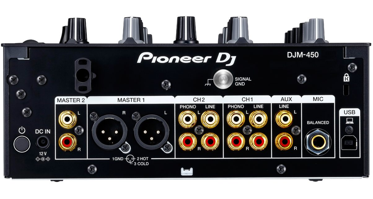 The DJM-450 has an abundance of connectivity options for hooking up speakers, turntables and CDJs, and your laptop.